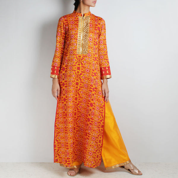 Cotton Floral printed yellow Kurta with Palazzos by Palanquine