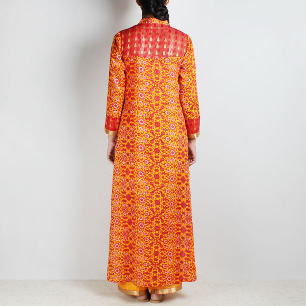 Cotton Floral Printed Yellow Kurta With Palazzos