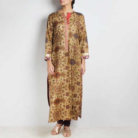Cotton Floral printed Mustard Kurta with Chudidaar by Palanquine