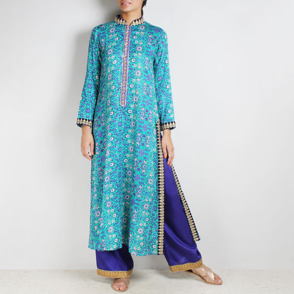 Cotton Floral printed Blue Kurta with Palazzos by Palanquine