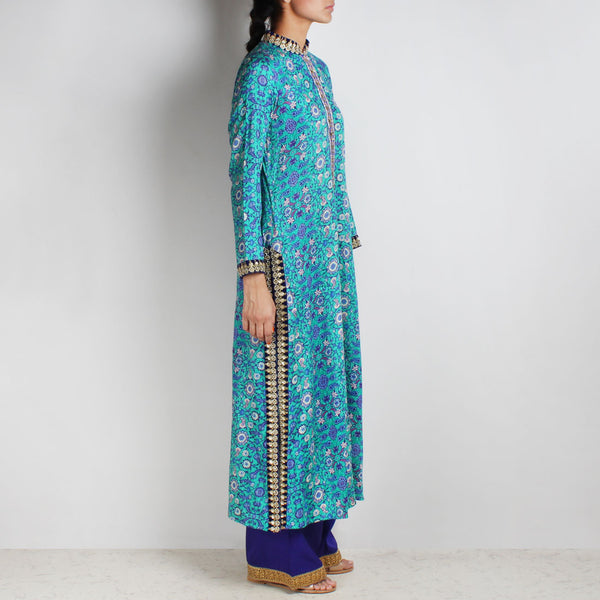 Cotton Floral Printed Blue Kurta With Palazzos
