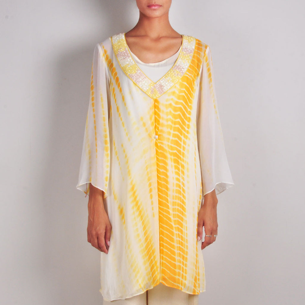 Yellow and Cream Buttoned Batik Print Tunic by Palanquine