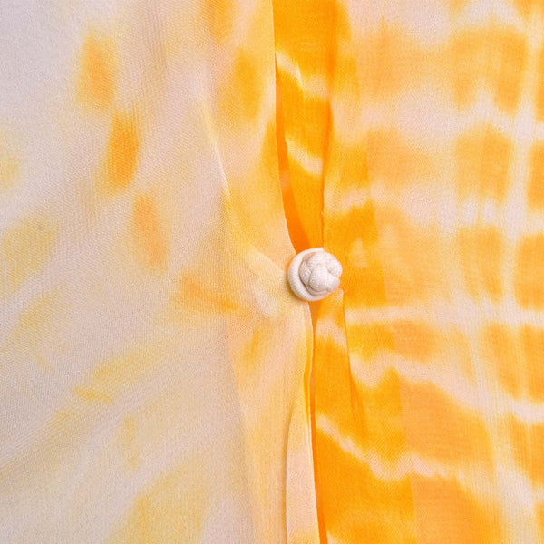 Yellow And Cream Buttoned Batik Print Tunic