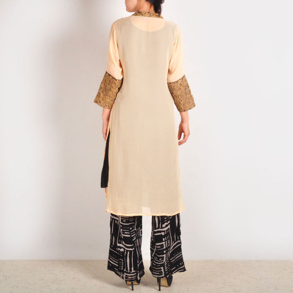Georgette Garo Embroidered Beige Tunic & Palazzos Set