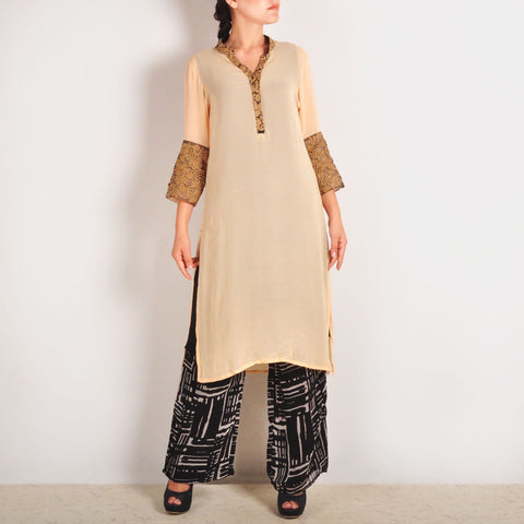 Georgette Garo Embroidered Beige Tunic & Palazzos Set by Palanquine