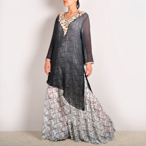 Sheer Garo Embroidered Georgette Tunic & Sharara Set