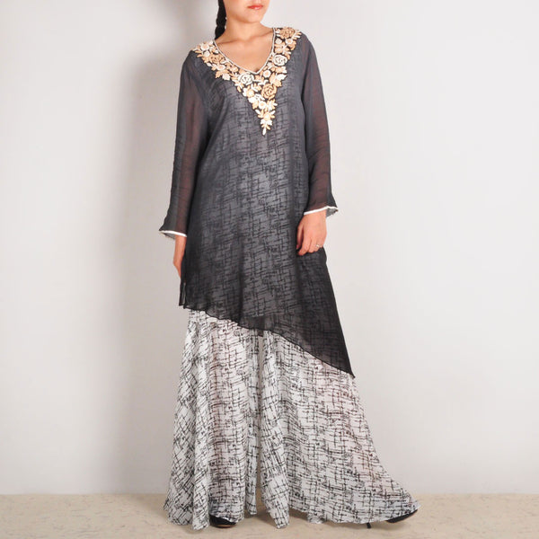 Sheer Garo Embroidered Georgette Tunic & Sharara Set by Palanquine