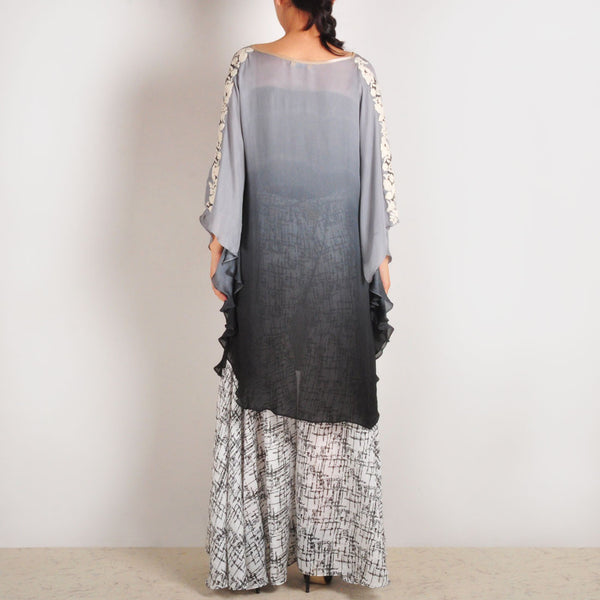 Embroidered Georgette Grey Flary Poncho & Sharara Set