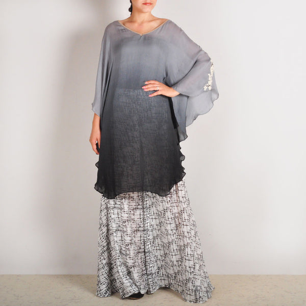 Embroidered Georgette Grey Flary Poncho & Sharara Set by Palanquine