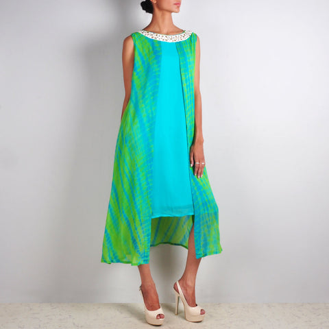 Blue-Green Batik Print Tunic by Palanquine
