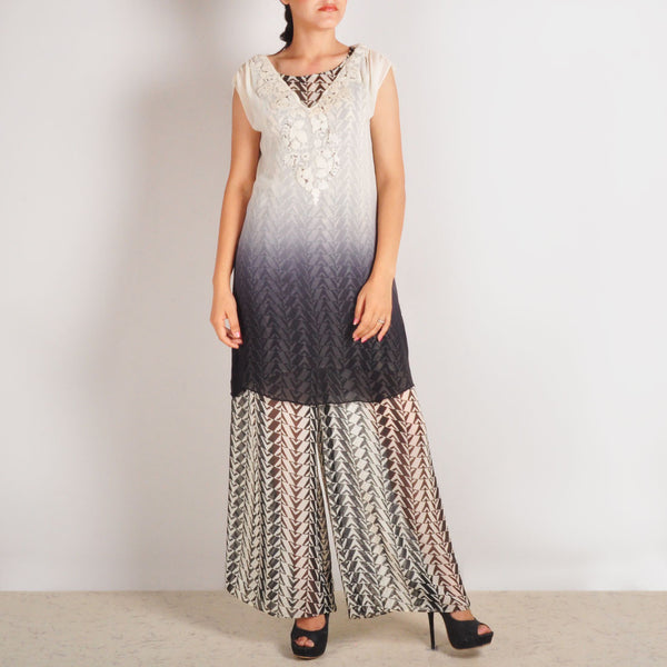Grey Georgette Garo Embroidered Tunic & Palazzos Set by Palanquine