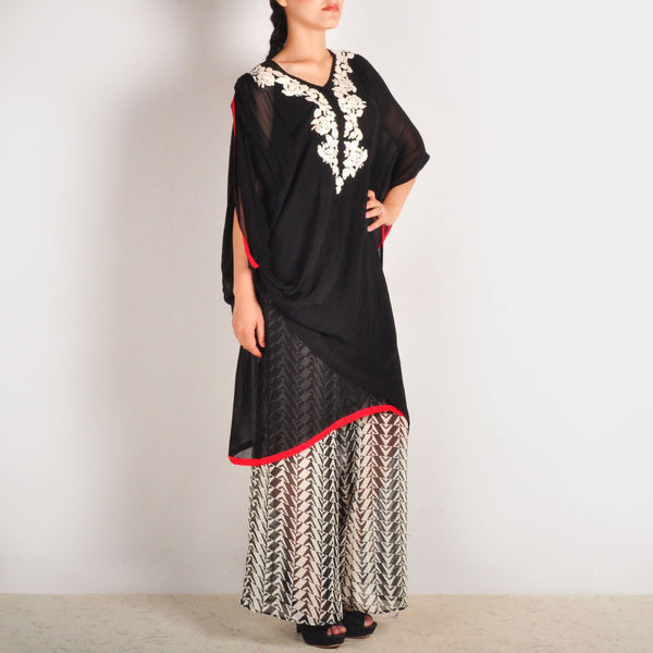 Garo Embroidered Cowl Sleeved Tunic & Palazzos Set
