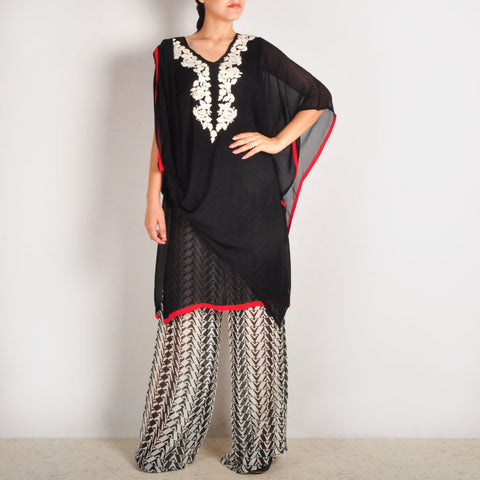 Garo Embroidered Cowl Sleeved Tunic & Palazzos Set by Palanquine