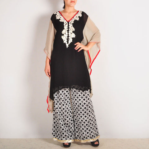 Cream & Black Garo Embroidered Georgette Tunic with Palazzos by Palanquine