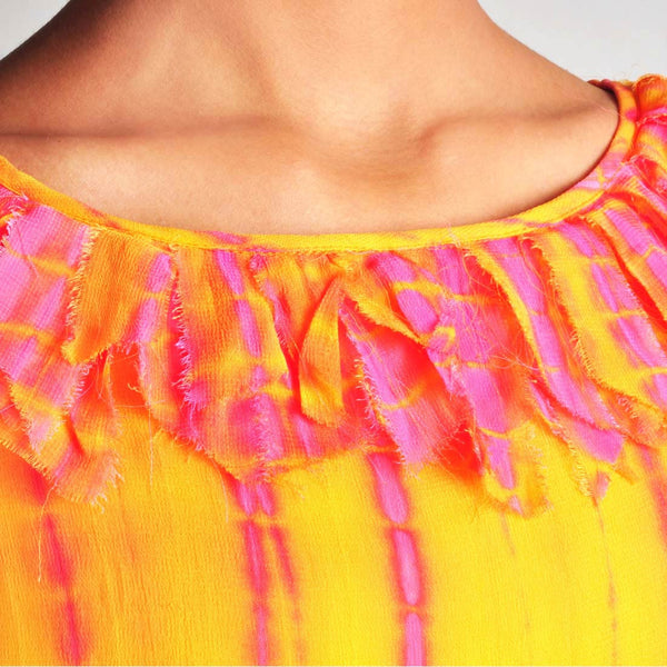 Batik Print Tunic With Frilled Neckline