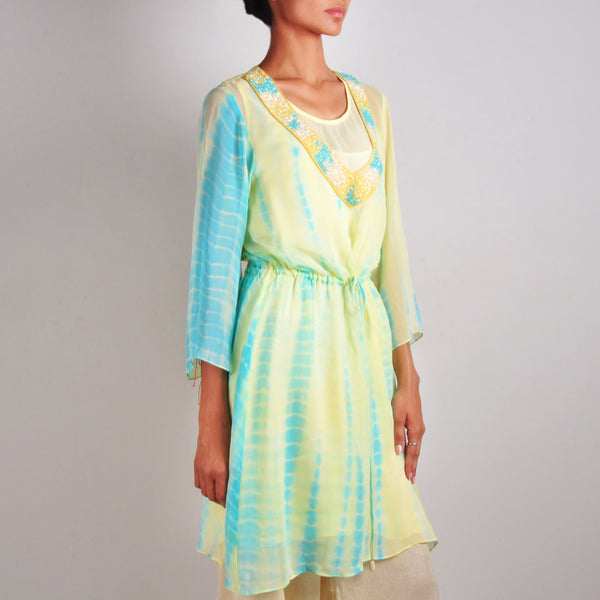 Blue And Yellow Drawstring Tunic