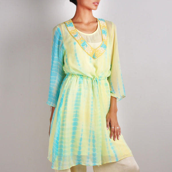 Blue and Yellow Drawstring Tunic by Palanquine