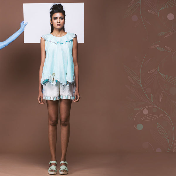 Set of Linen Top & Shorts  by Pushpak Vimaan