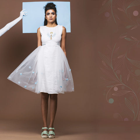 White Linen Sheer Dress by Pushpak Vimaan