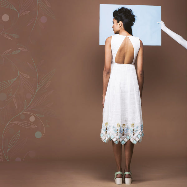 White Linen Cutout Back Dress