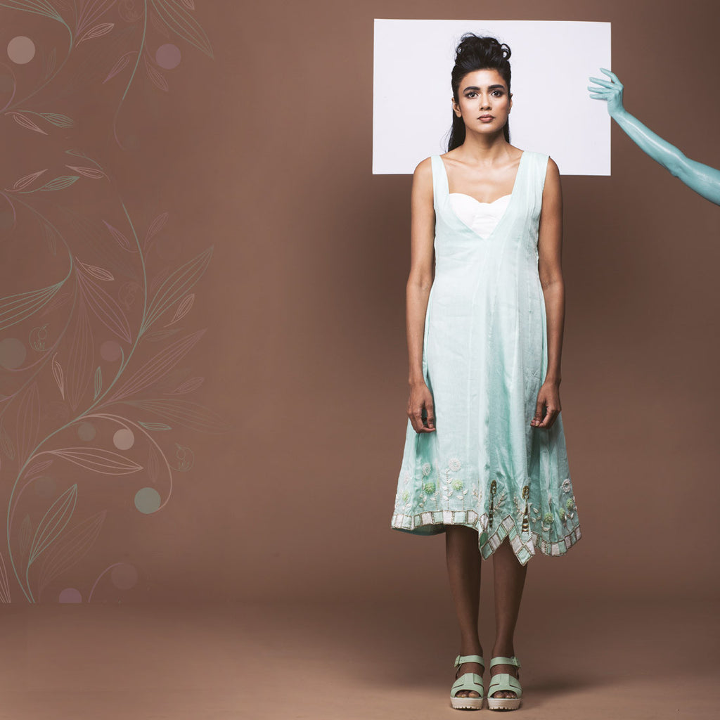 Mint Green Linen Shift Dress & White Bralet by Pushpak Vimaan