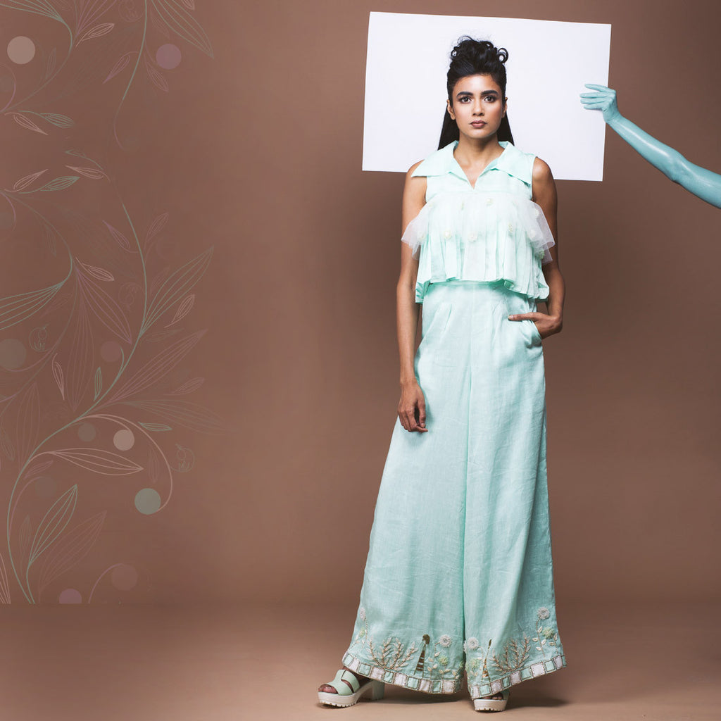 Set of Mint Green Linen Crop Top & Palazzo  by Pushpak Vimaan
