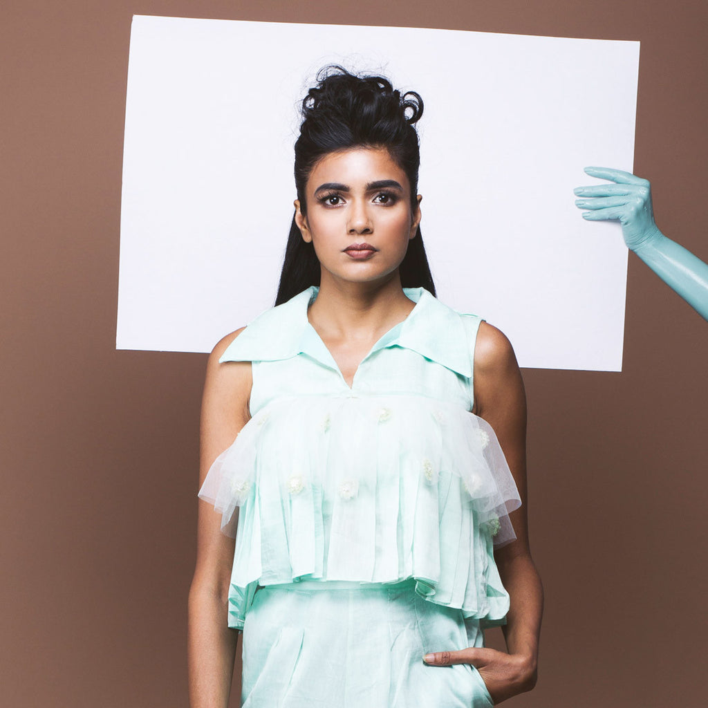 Mint Green Linen Crop Top by Pushpak Vimaan