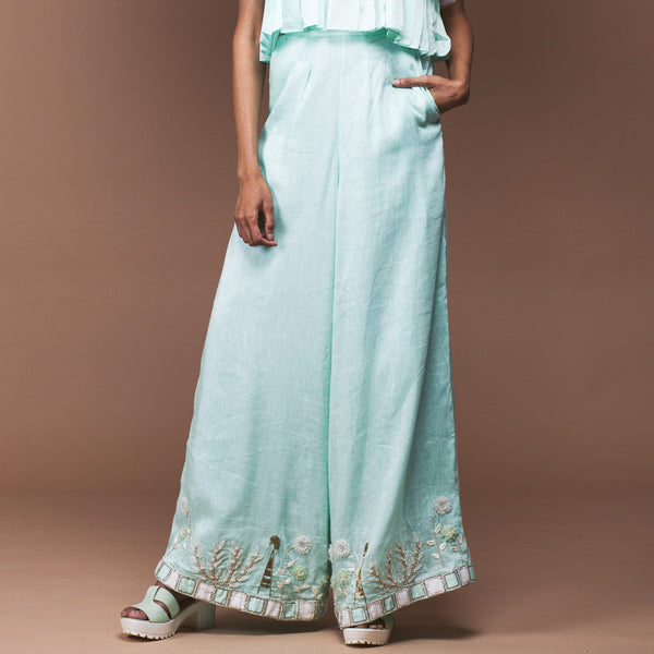 Mint Green Linen Palazzo by Pushpak Vimaan