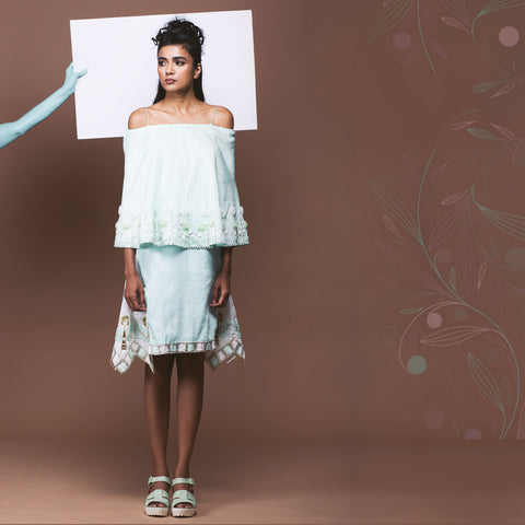 Set of Mint Green Linen Poncho Top & Skirt  by Pushpak Vimaan