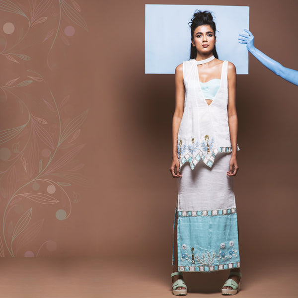Blue Linen Top with Zigzag Hem by Pushpak Vimaan