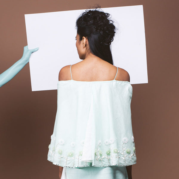 Mint Green Linen Off Shouldered Top