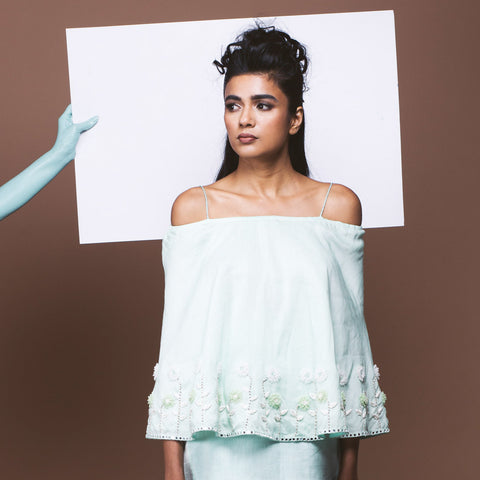 Mint Green Linen Off Shouldered Top by Pushpak Vimaan