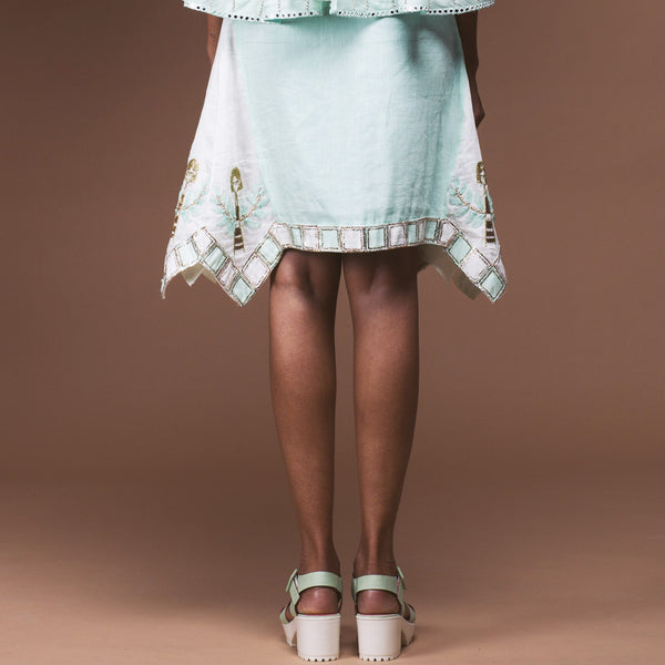 Mint Green Linen Skirt
