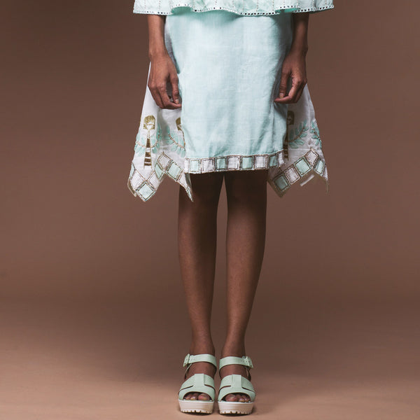 Mint Green Linen Skirt by Pushpak Vimaan