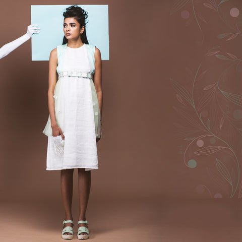 White Linen Shift Dress & Mint Green Sheer Jacket by Pushpak Vimaan