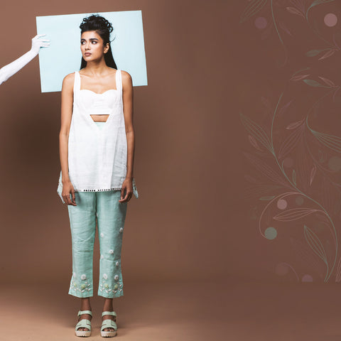 Set of White Linen Top & Mint Green Pants by Pushpak Vimaan
