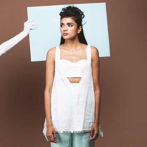 White Linen Bralet & Top by Pushpak Vimaan