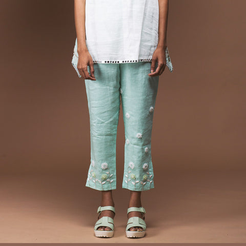 Mint Green Linen Pants by Pushpak Vimaan