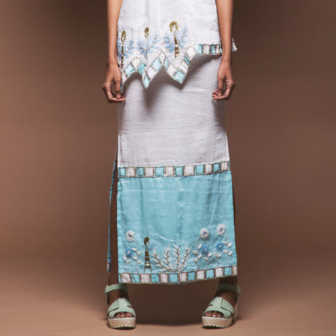 Colourblocked Linen Pencil Skirt by Pushpak Vimaan