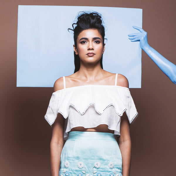 White Linen Crop Top by Pushpak Vimaan