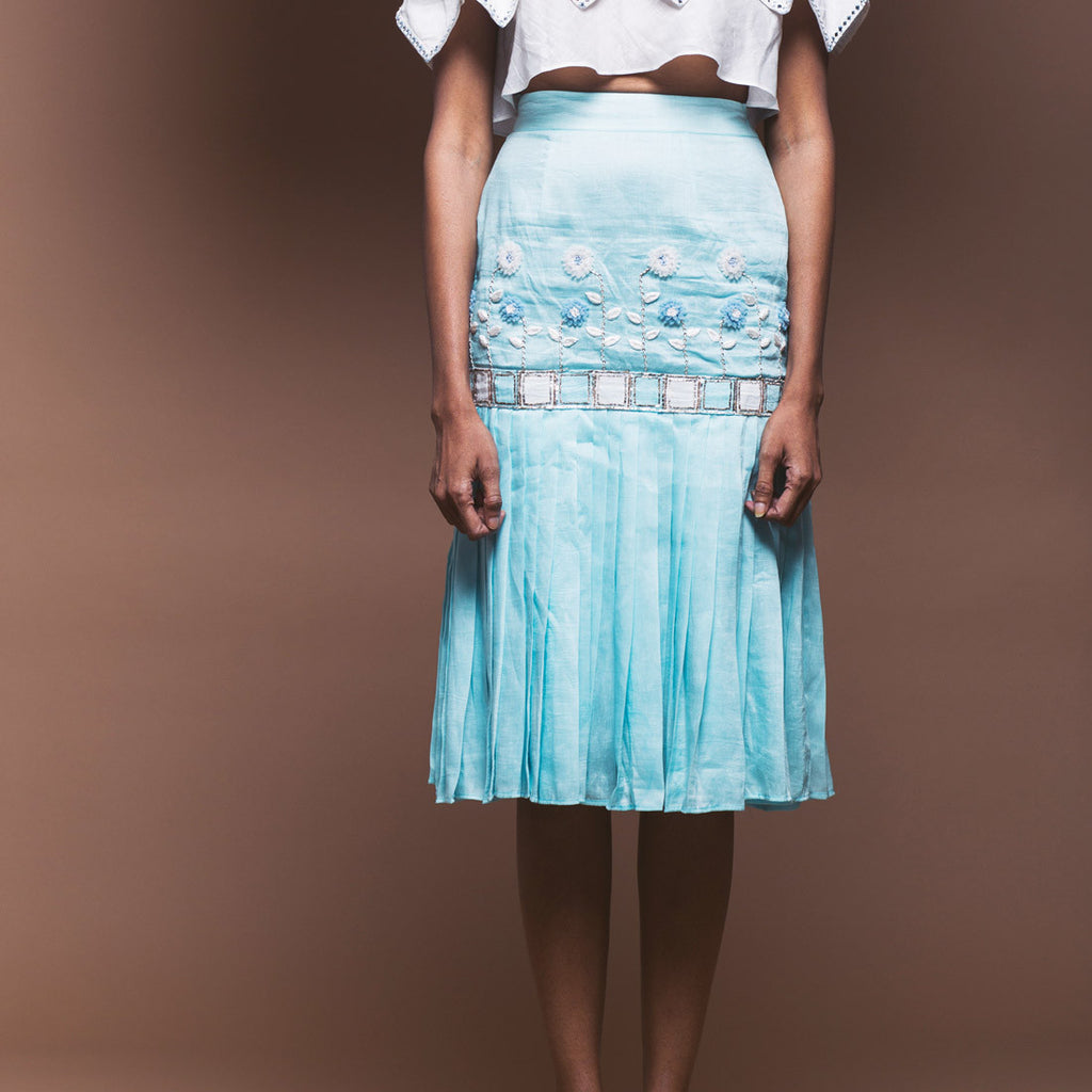 Powder Blue Linen Peplum Skirt by Pushpak Vimaan