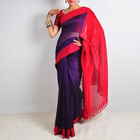 Purple & Red Saree by Reubenbright Clothing