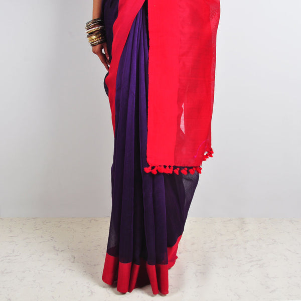 Purple & Red Saree