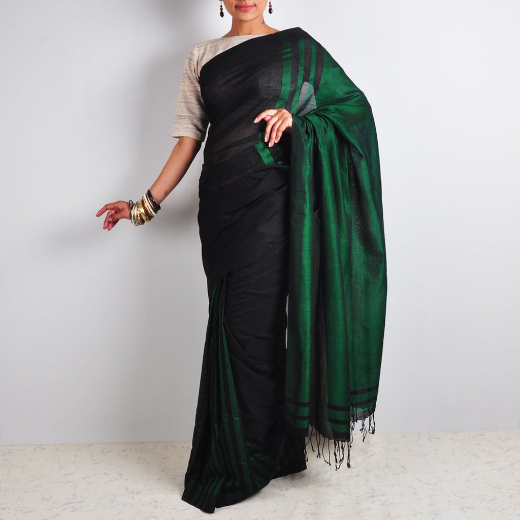 Green & Black Striped Saree by Reubenbright Clothing