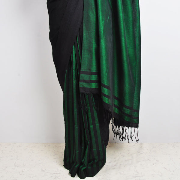 Green & Black Striped Saree