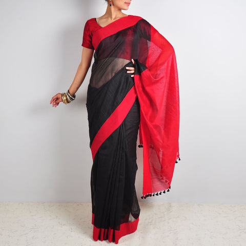Black & Red Saree by Reubenbright Clothing