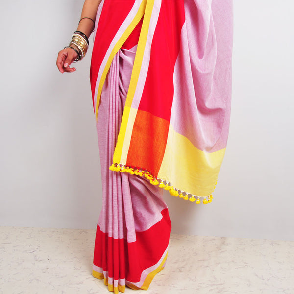 White & Red Saree