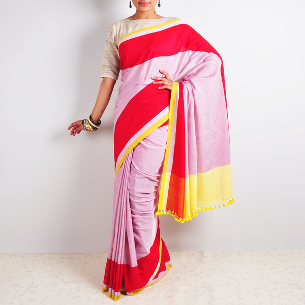 White & Red Saree by Reubenbright Clothing