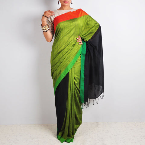 Black & Green Striped Saree by Reubenbright Clothing