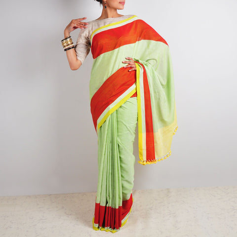 Lime & Red Saree by Reubenbright Clothing